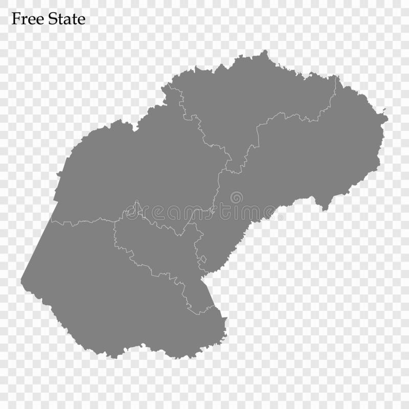 High Quality map is a province of South Africa. High Quality map of Free State is a province of South Africa, with borders of the districts stock illustration