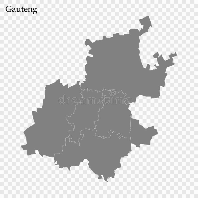 High Quality map is a province of South Africa. High Quality map of Gauteng is a province of South Africa, with borders of the districts royalty free illustration