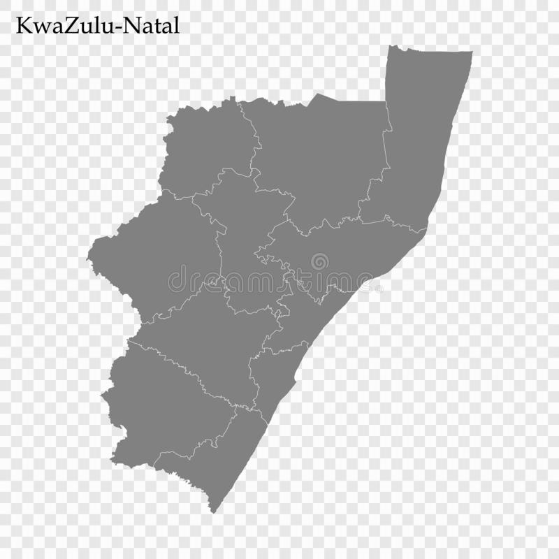 High Quality map is a province of South Africa. High Quality map of KwaZulu-Natal is a province of South Africa, with borders of the districts vector illustration
