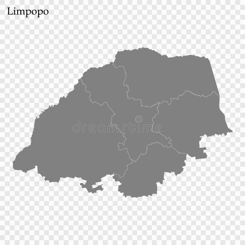 High Quality map is a province of South Africa. High Quality map of Limpopo is a province of South Africa, with borders of the districts royalty free illustration