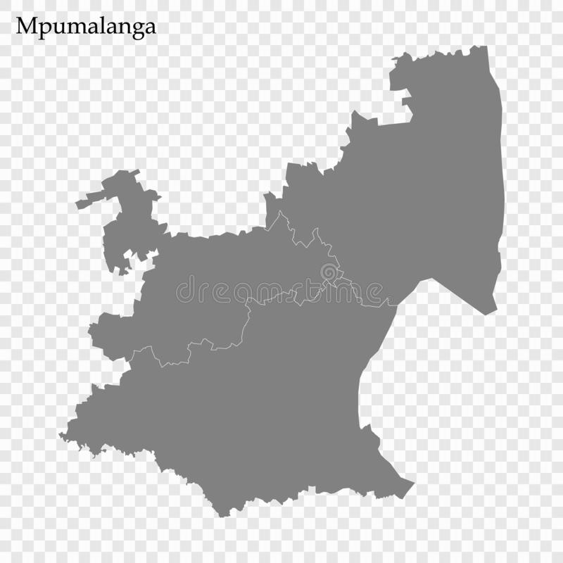 High Quality map is a province of South Africa. High Quality map of Mpumalanga is a province of South Africa, with borders of the districts vector illustration