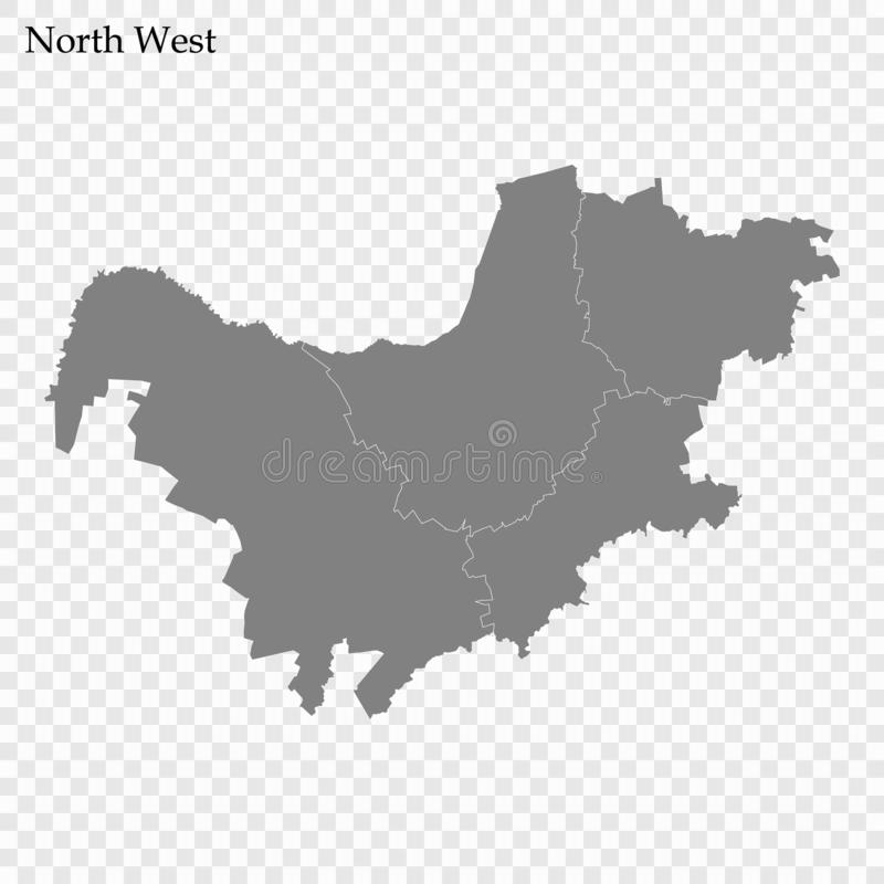 High Quality map is a province of South Africa. High Quality map of North West is a province of South Africa, with borders of the districts stock illustration