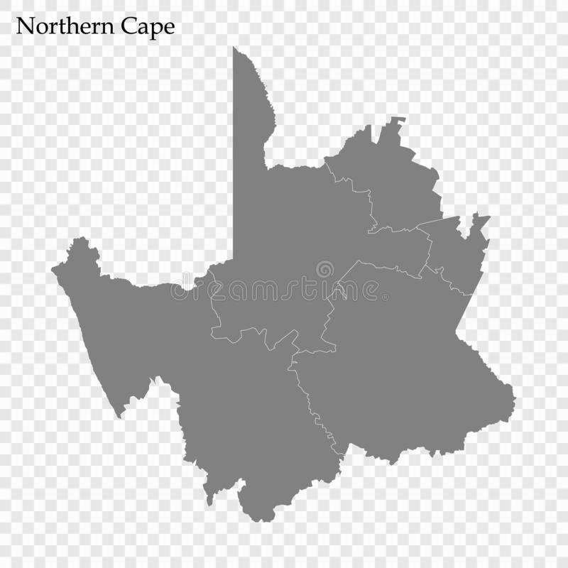 High Quality map is a province of South Africa. High Quality map of Northern Cape is a province of South Africa, with borders of the districts stock illustration