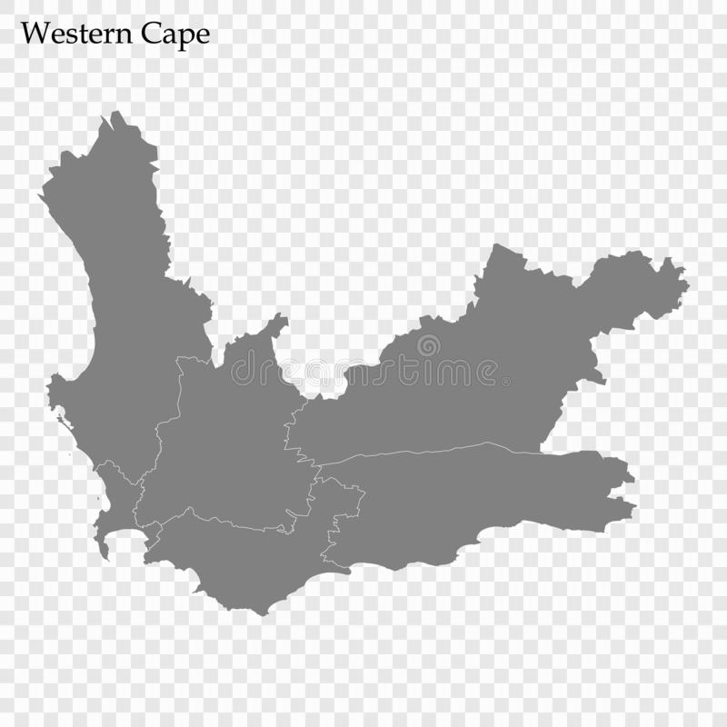 High Quality map is a province of South Africa. High Quality map of Western Cape is a province of South Africa, with borders of the districts royalty free illustration