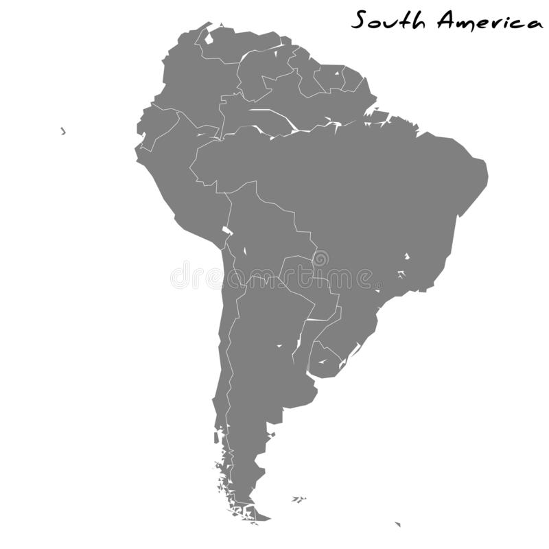 High quality map of South America vector illustration