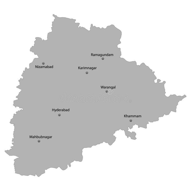 Map Of Hyderabad, Telangana, Satellite View, Black And
