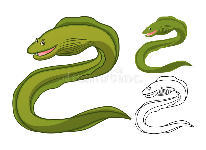 High Quality Moray Eel Cartoon Character Include Flat Design and Line Art Version. Detailed Moray Eel Cartoon Character Include Flat Design and Line Art Version royalty free illustration