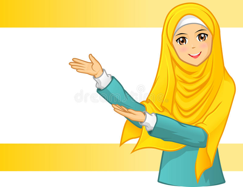 High Quality Muslim Woman Wearing Yellow Veil with Invite Arms vector illustration