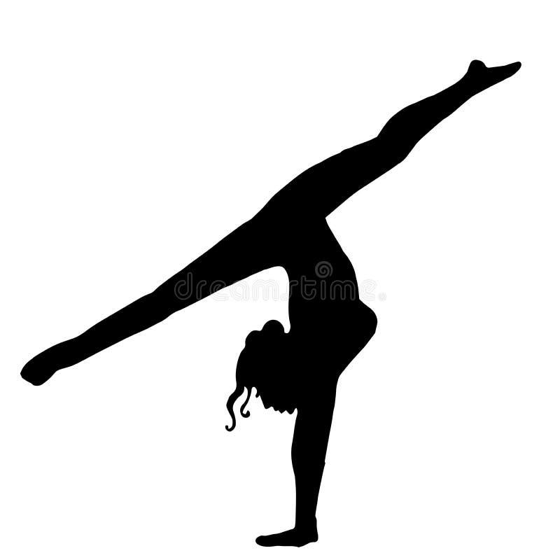 High quality original girl gymnastic doing splits. Gymnastics. Girl. Athlete stock illustration