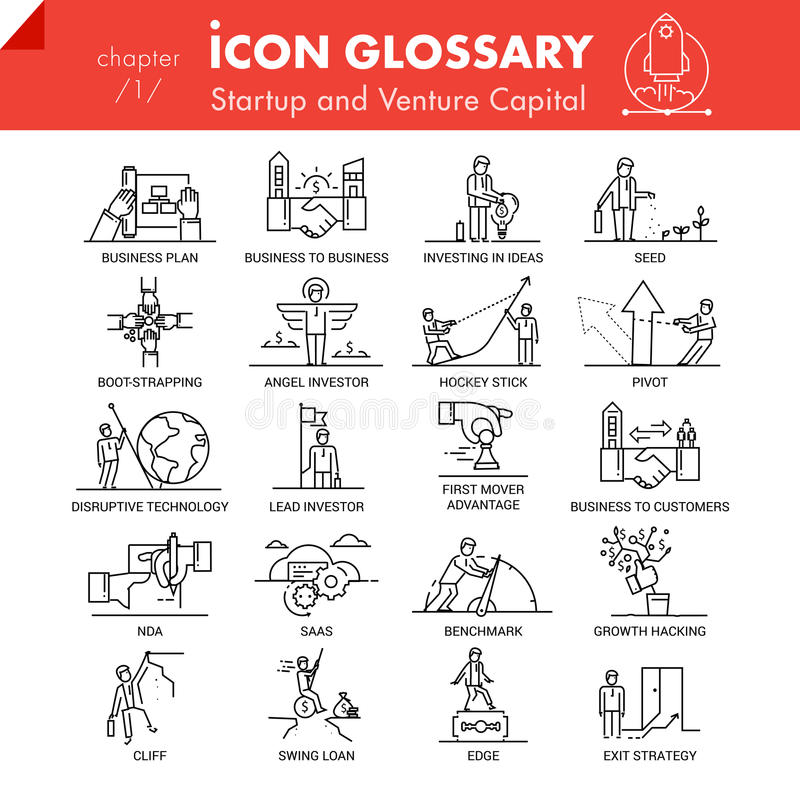 High quality outline icons pack of startup business and venture capital stock illustration