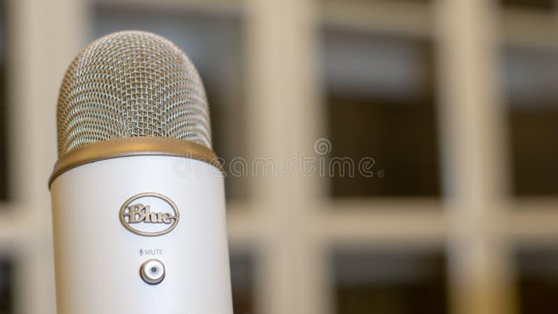 Blue Yeti metallic retro style Microphone Poster royalty free stock photo