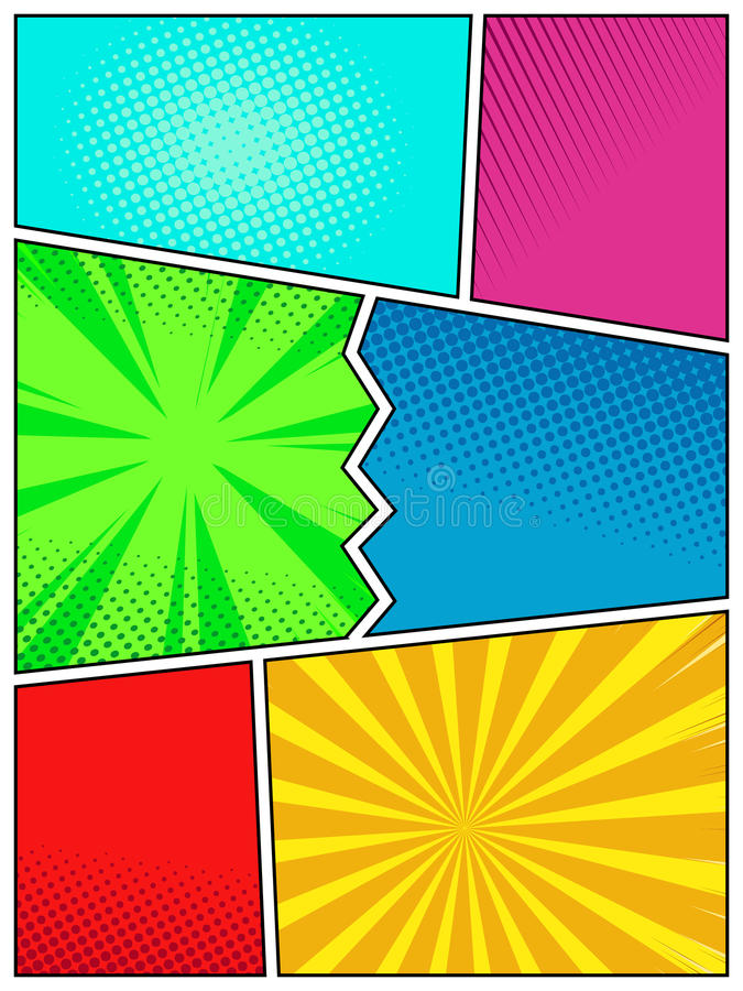 High quality Pop Art style retro poster template, comic book cover page mock up vector illustration