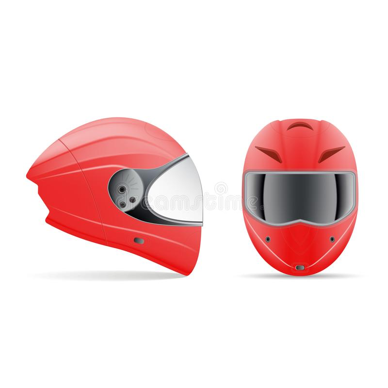 High Quality Red Motorcycle Helmet. Front And Side View Isolated On A White Background. Vector Illustration. stock illustration