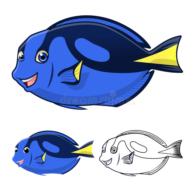 High Quality Regal Blue Tang Cartoon Character Include Flat Design and Line Art Version royalty free illustration
