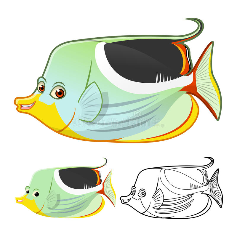 High Quality Saddle Butterflyfish Cartoon Character Include Flat Design and Line Art Version stock illustration