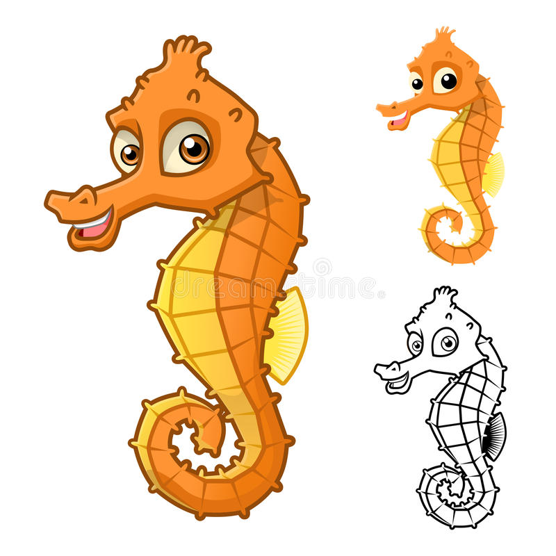 High Quality Sea Horse Cartoon Character Include Flat Design and Line Art Version royalty free illustration