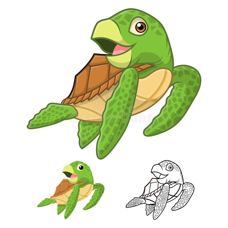 High Quality Sea Turtle Cartoon Character Include Flat Design and Line Art Version stock illustration
