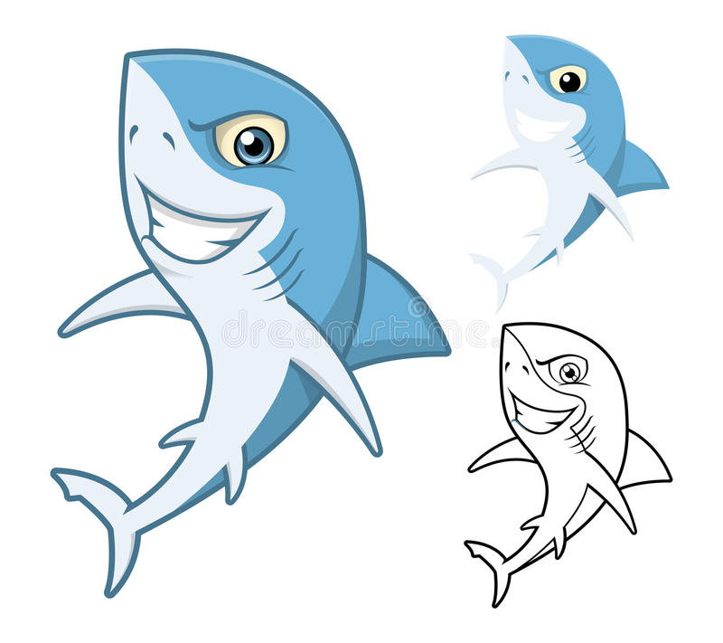 High Quality Shark Cartoon Character Include Flat Design and Line Art Version royalty free illustration