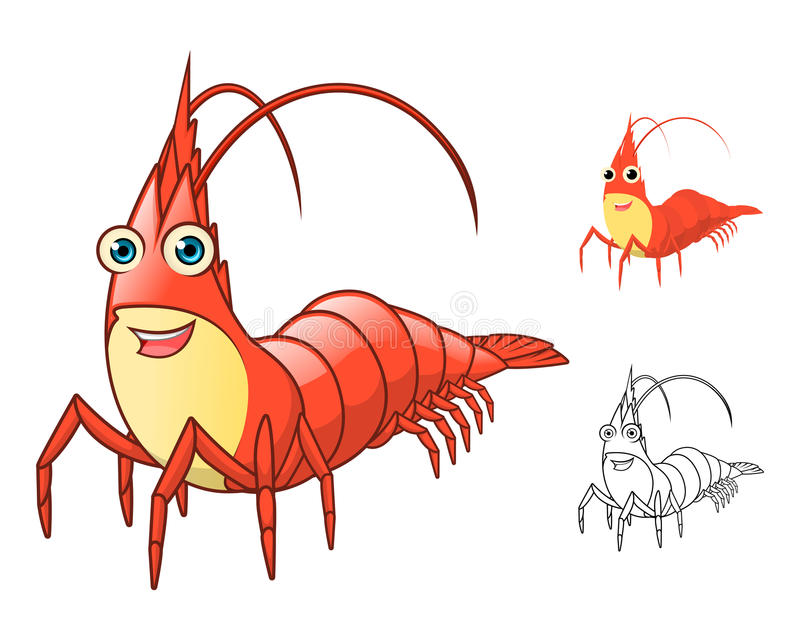 High Quality Shrimp Cartoon Character Include Flat Design and Line Art Version stock illustration