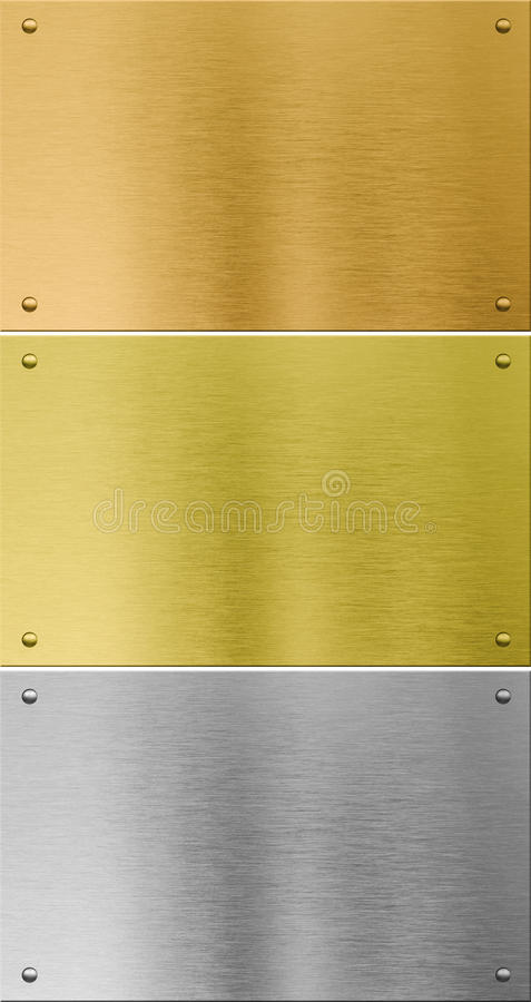 High quality silver, gold and bronze metal stock image
