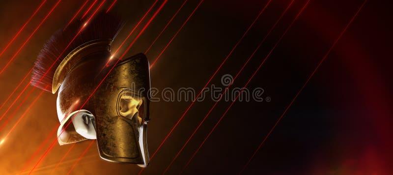 High quality spartan helmet with skull inside, Greek roman warrior Gladiator, legionnaire heroic soldier, sports fan royalty free illustration