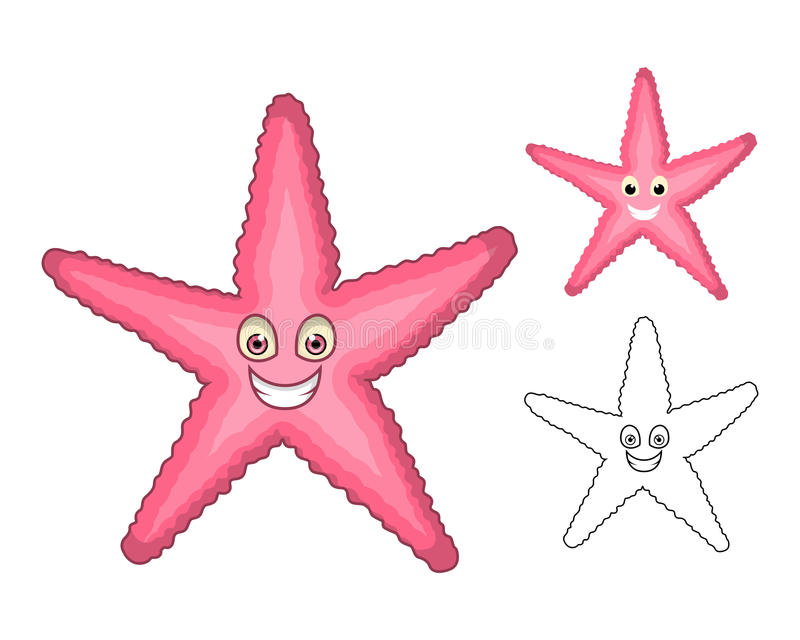 High Quality Starfish Cartoon Character Include Flat Design and Line Art Version royalty free illustration