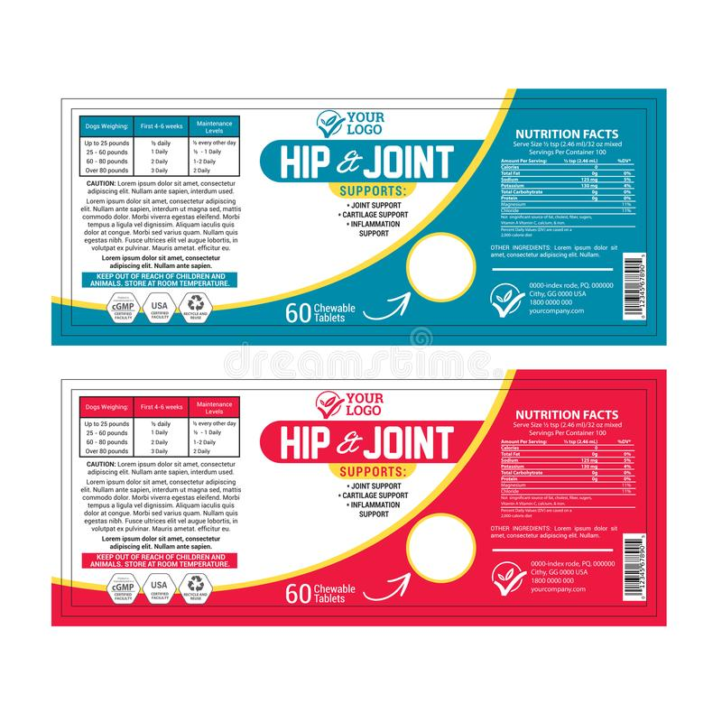 High Quality Supplement Label Template. High quality dog food supplement label template royalty free illustration
