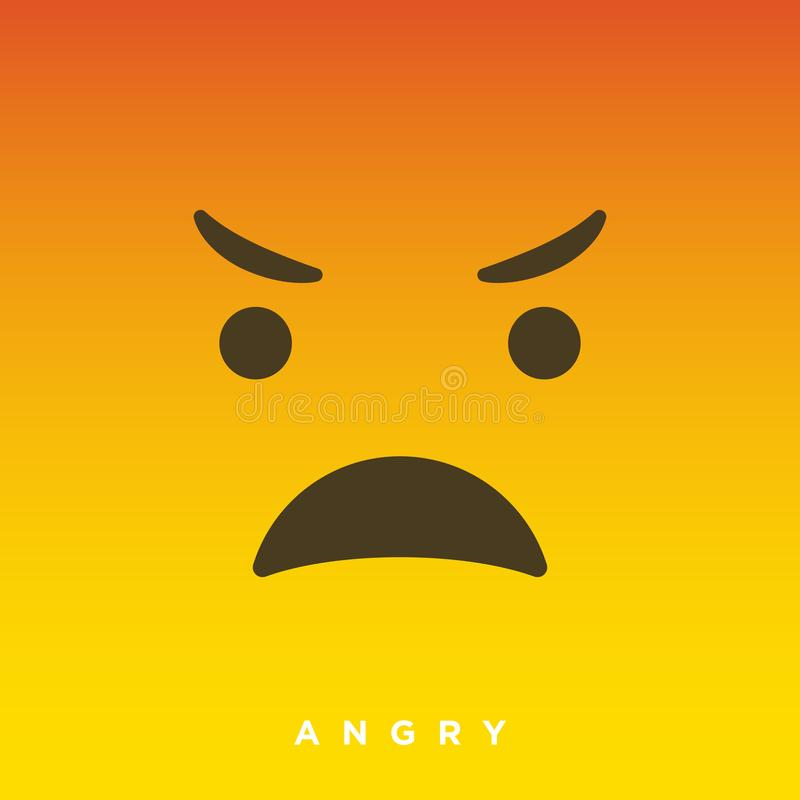 High quality vector cartoon with angry face emoticons with Flat Design Style, social media reactions - Vector EPS10. Illustration stock illustration