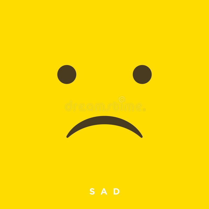 High quality vector cartoon sad emoticons with Flat Design Style, social media reactions - Vector EPS10. Illustration vector illustration