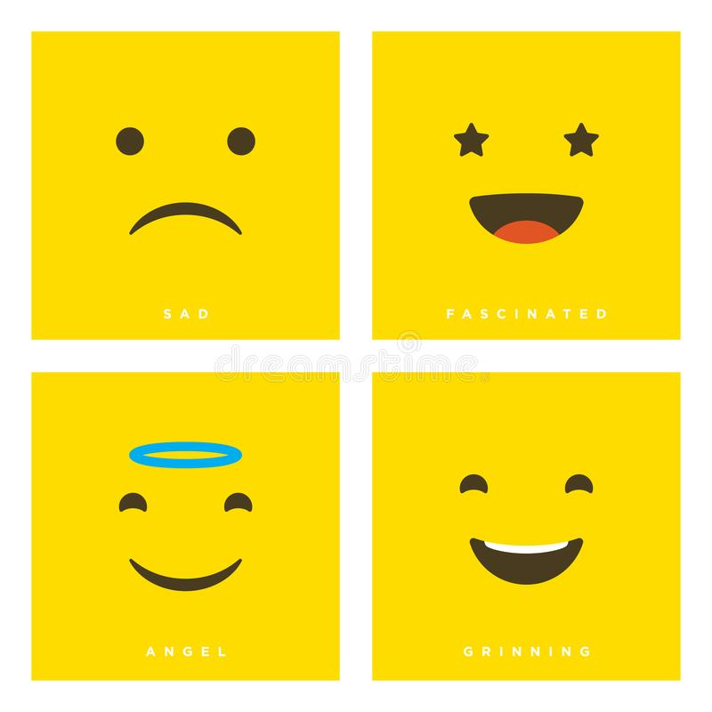High quality vector cartoon set with sad, fascinated, angel, grinning emoticons with Flat Design Style, social media reactions - stock illustration