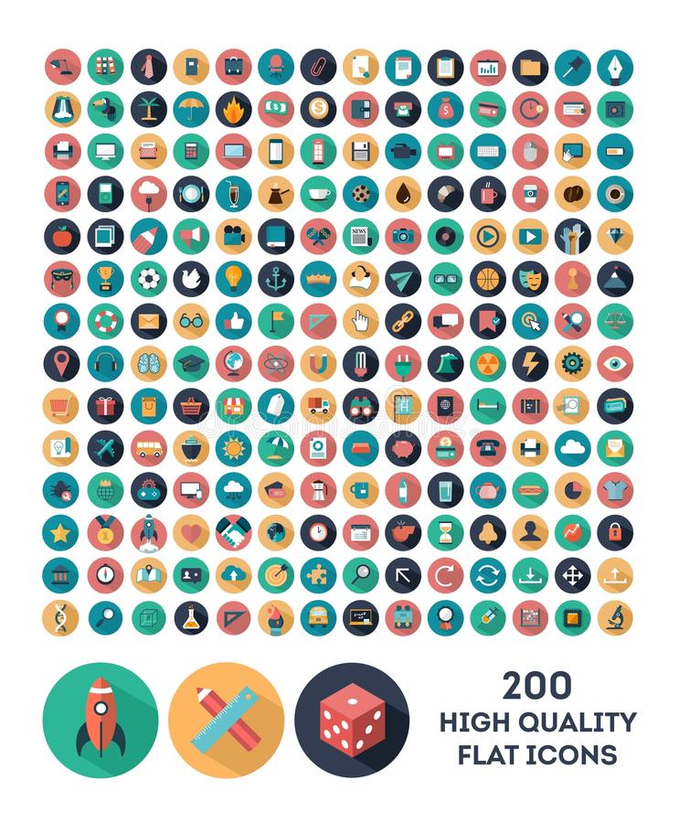 200 high quality vector flat icons vector illustration