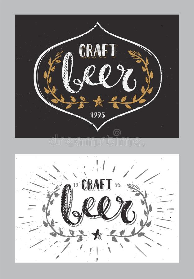 Set of Craft Beer Template Hand Drawn Calligraphy Pen Brush Sign Vector vector illustration