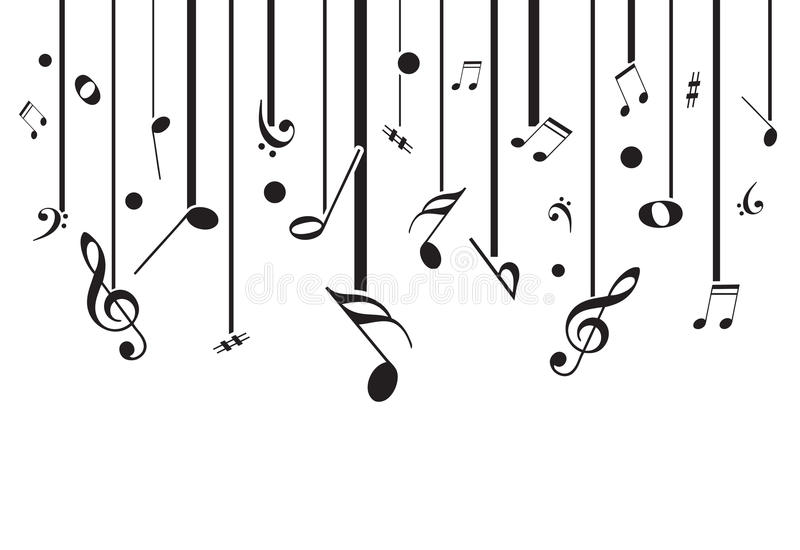 White music notes with lines stock illustration