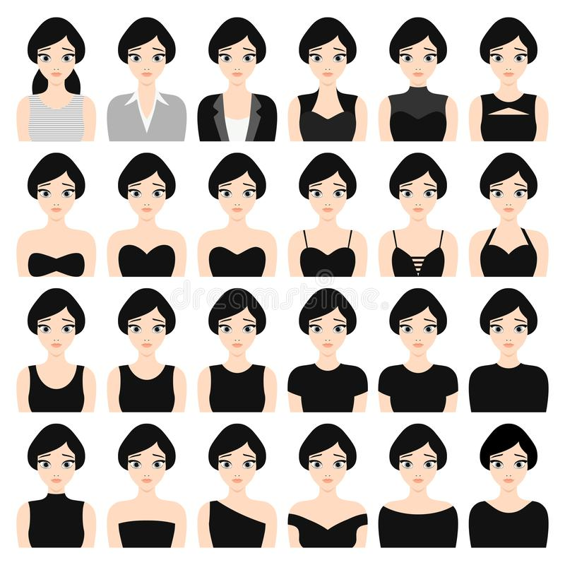 High quality vector set of 25 different female flat style realistic fashion clothes vector illustration