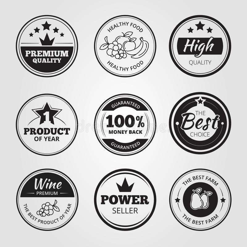 High quality vintage wax seals labels, badges and royalty free illustration
