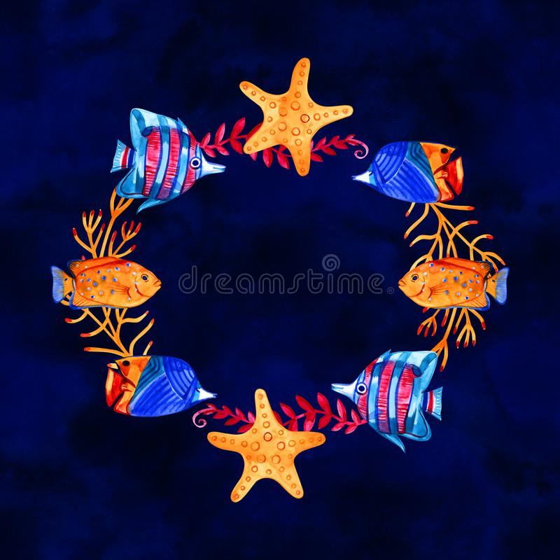 High quality watercolor composition of underwater life objects. There are sea shells, corals, stones, stars. It can be. Used for cards, invitation, wedding vector illustration