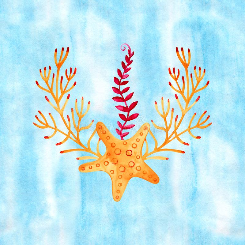 High quality watercolor composition of underwater life objects. There are sea shells, corals, stones, stars. It can be. Used for cards, invitation, wedding stock illustration