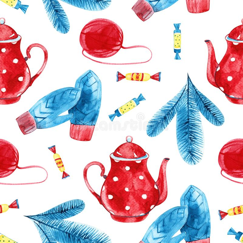 High quality watercolor hand drawn seamless pattern with teapots isolated. Good for fabric, wrapping paper, prints etc.  royalty free stock image