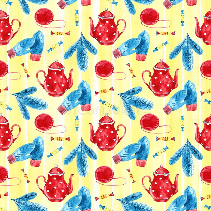 High quality watercolor hand drawn seamless pattern with teapots isolated. Good for fabric, wrapping paper, prints etc.  stock photos