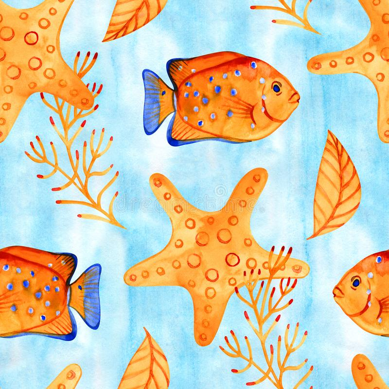 High quality watercolor seamless pattern with underwater life objects. It can be used for wallpaper, background, print. Textile design, wrapping paper, cover vector illustration
