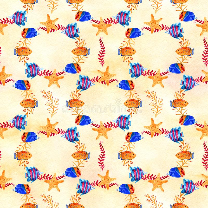 High quality watercolor seamless pattern with underwater life objects. It can be used for wallpaper, background, print. Textile design, wrapping paper, cover royalty free illustration