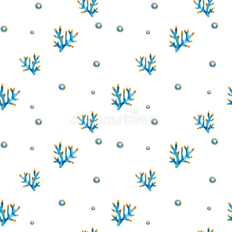 High quality watercolor seamless pattern with underwater life objects. It can be used for wallpaper, background, print. Textile design, wrapping paper, cover stock illustration