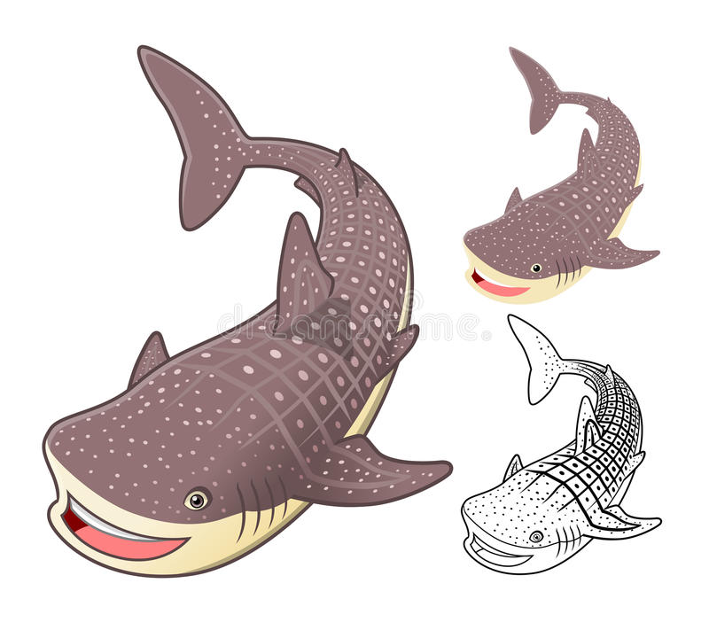 High Quality Whale Shark Cartoon Character Include Flat Design and Line Art Version royalty free illustration