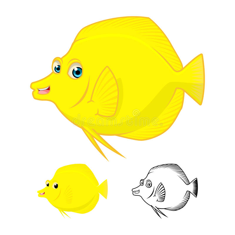 High Quality Yellow Tang Fish Cartoon Character Include Flat Design and Line Art Version. Detailed Yellow Tang Fish Cartoon Character Include Flat Design and vector illustration