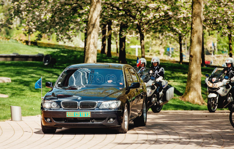 High ranked European official motorcade royalty free stock photo