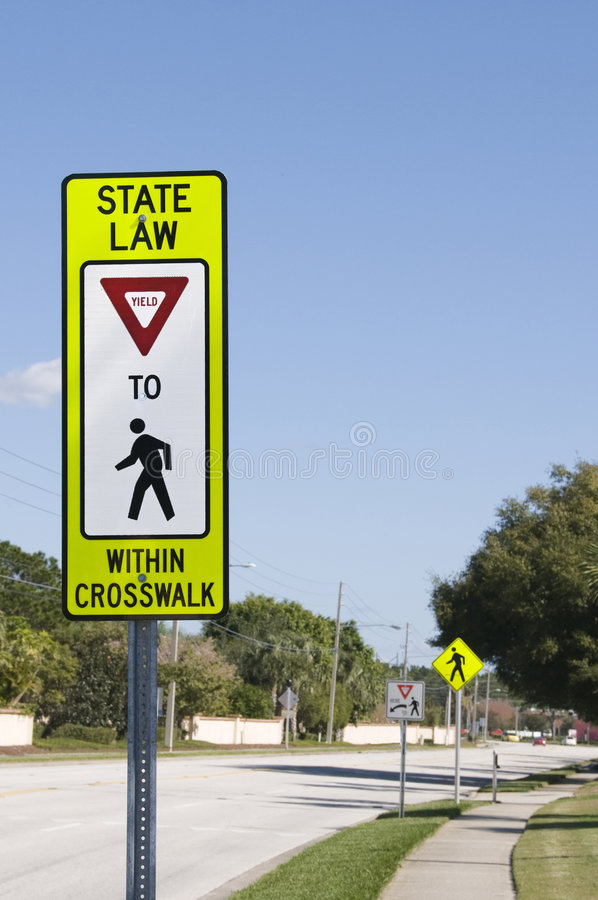 High reflective crosswalk sign royalty free stock photography
