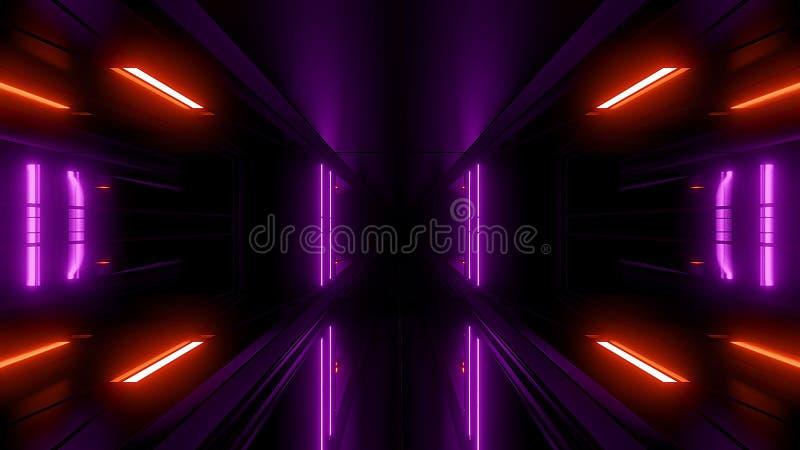 High reflective scifi tunnel wallpaper 3d rendering stock illustration