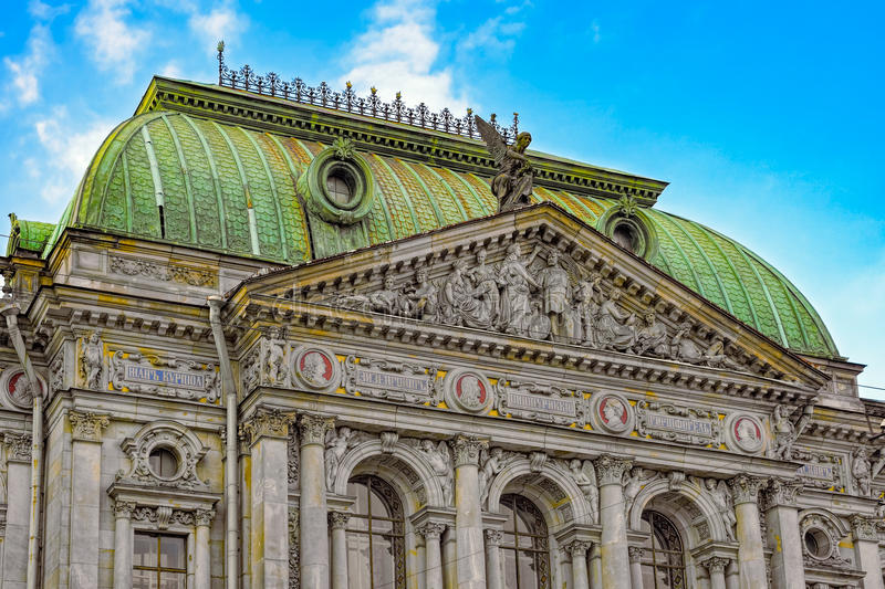 High relief decoration on facade of ancient building in architectural style historicism. High relief decoration on facade of ancient building of Baron von stock photography