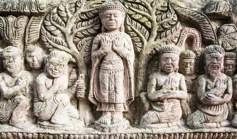 High relief sculpture stone thai style stock photo image