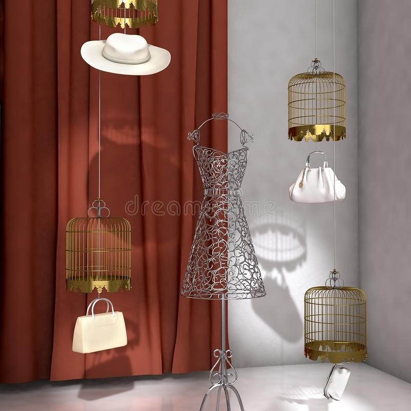 High res 3d rendered fashion shop window showcase. Fashion items showcase of nice clothing accessories royalty free illustration